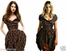Size 8 TARTAN CHECK STEAMPUNK WHITBY VICTORIANA WRAP DRESS EX COND# US 4 EU 36