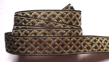 Jacquard Ribbon, select 3/4 inch wide Black - Gold selling by the yard