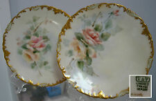 """2  Hand Painted Antique TV Limoges France Saucer Plates ,6"""" dim, Victorian Roses"""