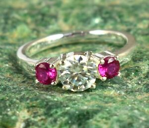 Beautiful Design 2.51 Ct White Diamond Solitaire Halo Ring With Rubies Accents