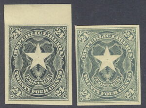 Liberia 1892, 24c star, IMPERFORATE, both SHADES, RR #43 Waterlow