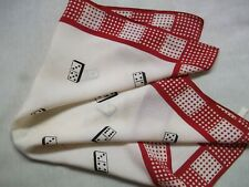 Mens Vintage Hankie Handkerchief 1950s 1960s Domino Dominoes SILK Casino