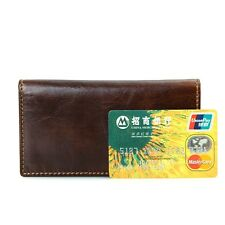 Unisex RFID Blocking Excellent Cow Leather Check Wallet Credit Card Holder
