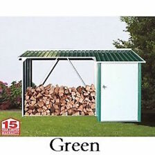 Duramax 53661 Green WoodStore 8.5' x 3.5' Metal Combo Shed with Off-White Trim