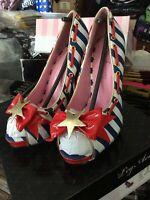 Stripe Shoes Star UK Size 3.5 4.5 7.5 Stiletto Peep Toe Marina Heels Womans