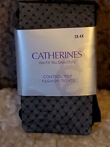 Catherines Control Top Opaque Tights Size 3X-4X Textured Black (Fish Net Look)
