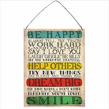 Be Happy Inspirational Funny Retro Vintage Wall Metal Plaque Sign 15x20cm