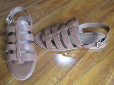 NEW Coach Skyler Leather Strappy Sandals WOMENS 8 B Saddle Brown $145.00
