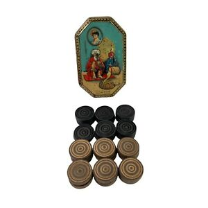 Vintage Turned Wooden Draughts Men Checkers In Old Tin