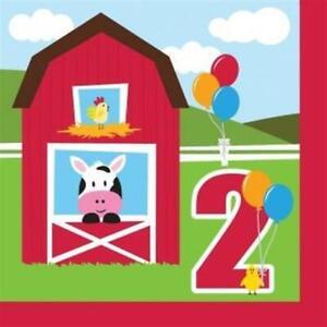 Farmhouse Fun 2nd Birthday Lunch Napkins 18 Pack Farm Birthday Party Decoration