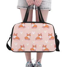 Fashion Womens Overnight Duffle Cute Welsh Corgi Weekender Travel Bag