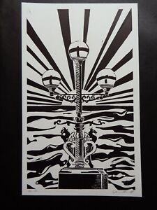 Original Limited edition lino-cut Trefechan lamp Aberystwyth Sun rays & Sea 8/10