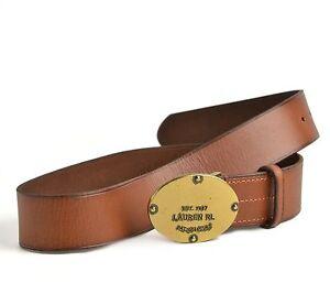 Lauren Ralph Lauren Women's Leather Logo Plaque Belt Tan Size S - NEW