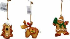 Gingerbread Tree Decorations - 3 pack