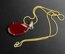 68-70 Carat Certified Red Topaz 925 Solid Sterling Silver Pendant With Chain