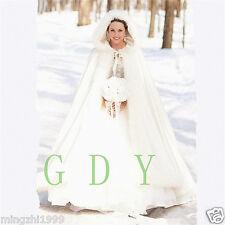 2017 Bridal Winter Warm Long Wedding Cloak Cape ivory Faux Fur Cape