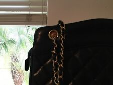 Chanel Vintage Purse- Black witth Gold and Leather Chain. Shoulder  Strap.