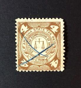 Arizona State Revenue - 4 cents brown Luxury Tax #LX4a - used - AZ