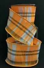"Taffeta Plaid Wired Ribbon~Orange, Gray, White~2 1/2"" W x 5 yd"