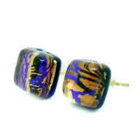 Murano Glass Stud Earrings Brown Gold Blue Black Handmade Venice