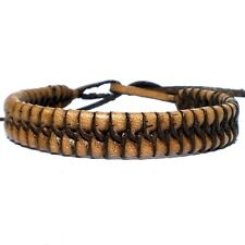 BROWN REAL LEATHER ADJUSTABLE FRIENDSHIP BRACELET HAND MADE WRISTBAND TIE STRAP