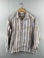 Conte Toscano Men's Vintage Long Sleeve Casual Shirt Size L Blue Stripe