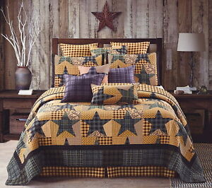 YELLOW GINGHAM FIVE STAR 3pc King QUILT SET : COUNTRY GREY PLAID FARMHOUSE