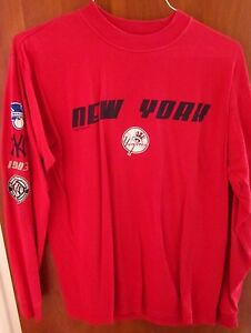 NEW YORK YANKEES longsleeves lrg tee all logos red T shirt 26 Championships 2001