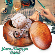 Wooden Yarn Bowl Holder Storage with Lid Cover for Knitting Yarn Ball AU ❤