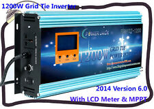 "1200W Grid Tie Inverter 28V-48V DC/110V AC With 3.5""LCD&MPPT For 24V Solar Panel"