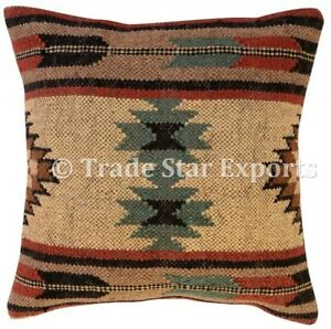 Kilim Cushion Cover 18x18 Jute Hand Woven Vintage Rug Pillow Case Set Of 2 Pcs
