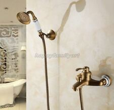 Antique Brass Wall Mount Bathroom Single Handle Tub Faucet Handshower ytf304