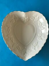 Cream Heart Shaped Dish Trimmed In Gold