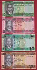 SUDAN UNC NOTES: 1 Pound 2011, 5 Pounds 2015, 10 Pounds 2016, & 20 Pounds 2017