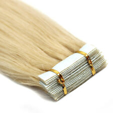 Tape in Skin Weft Real Remy Human Hair Extensions Platinum Blonde 18Inch20Pcs 7A