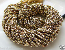 "Full 13"" strand gold coated PYRITE faceted gem stone rondelle beads 2.5mm - 3mm"
