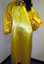 "Plus Size Satin! ""Special Cut� Yellow Satin Balloon Shirt Style Gown"