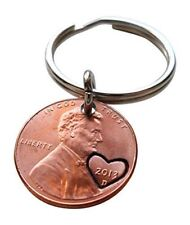 2013 Penny Keychain with Hand Stamped Heart Around Year; 4 Year Anniversary Gift