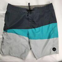 Rip Curl Men's Sz 38 Surf Board Shorts Swim Trunks Black Teal w Pocket