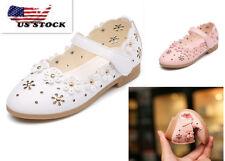Girls Baby Toddler Princess Pink White Dress Shoes Flat Wedding Kids