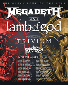 Megadeth + Lamb Of God North America Tour 2021 Posters   Unframed Paper Posters