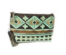 Lot of 2 Raviani Cosmetic Bag in Brown & TQ  Navajo Leather MADE IN USA