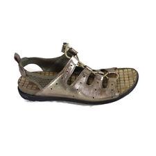 ECCO Open Toe Flats Sandals Comfort Shoes Women Size 9 EUR 40 Metallic Gold