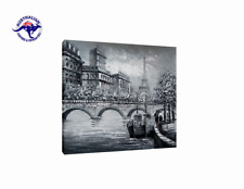 LARGE CANVAS OIL PAINTING WALL ART HAND PAINTED PARIS EIFFEL TOWER STREET