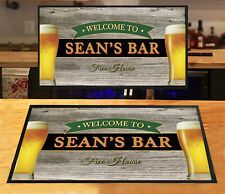 Personalised with any name bar runner Wood effect Beer glasses Bar mat Home bars