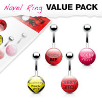 4pc Value Pack Bad Words Logo Belly Rings 14g Navel Naval Body Jewelry