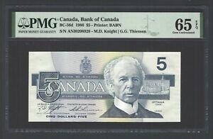 Canada 5 Dollars 1986 BC-56d Gem Uncirculated Grade 65