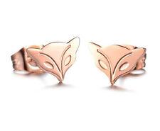18KGP Rose Gold Titanium Stainless Steel Cute Fox Stud Earrings