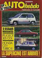 AUTO HEBDO n°437 du 13 Septembre 1984 GP ITALIE HONDA CITY TURBO