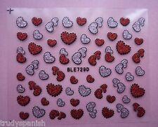 St valentin Nail Art Stickers Décalques Rouge Scintillant Love Hearts Motif 729D